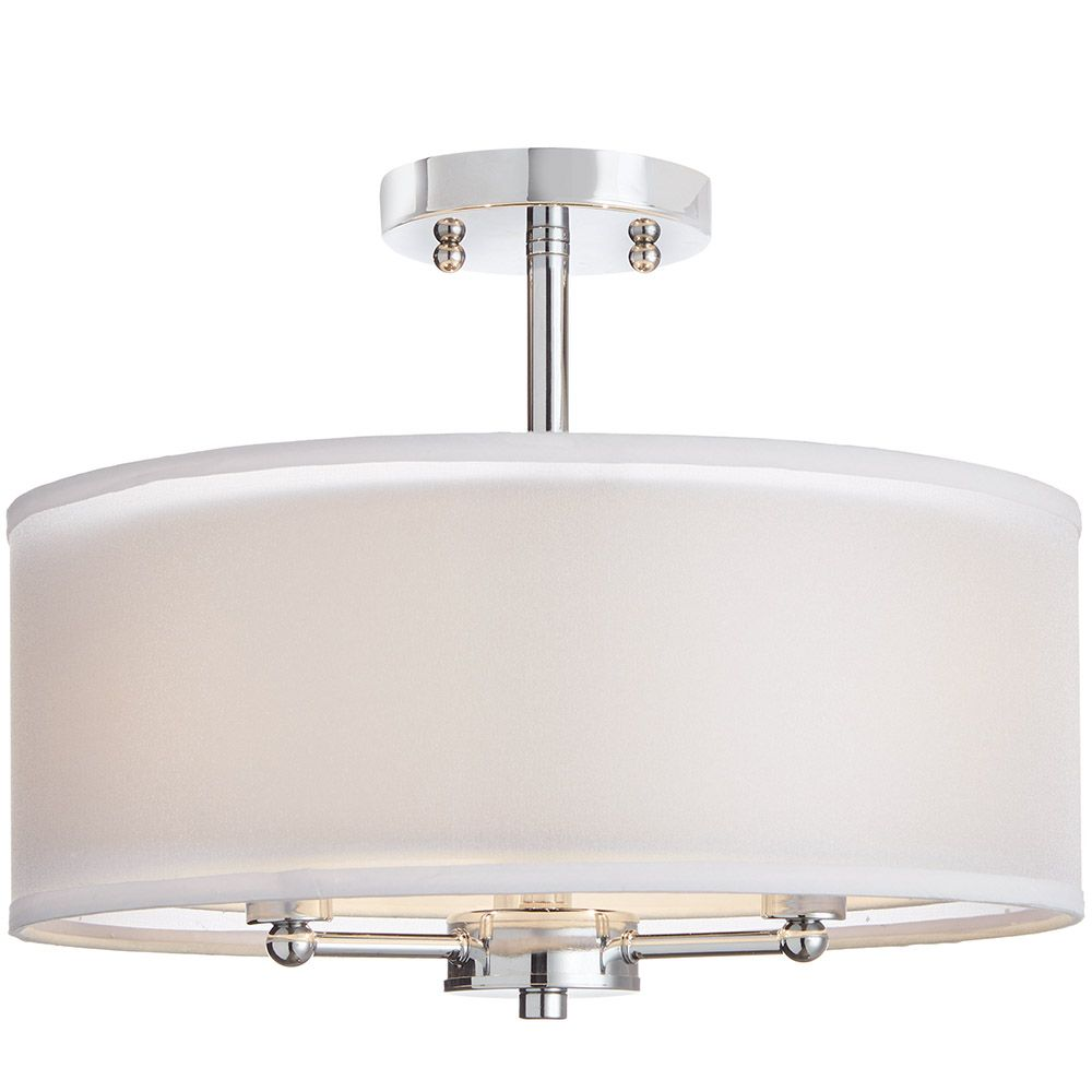 Home Decorators Collection 15-inch 3-Light Chrome Finish Semi-Flushmount Light with Dual Fabric Shade