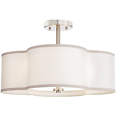 18 inch 4-Light Brushed Nickel Finish Semi-Flushmount Light with Off-White Fabric Clover Shade