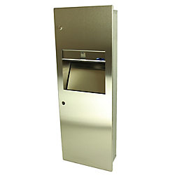 Frost Combination Paper Towel Dispenser/Disposal, Medium Size, Manual, Recessed