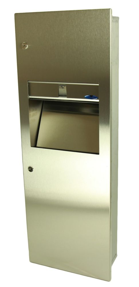 Frost Combination Paper Towel Dispenser/Disposal, Medium Size, Manual, Surface Mounted