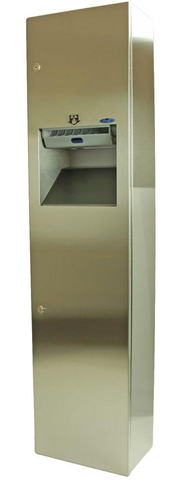 Auto Roll Combination Paper Towel Dispenser/Disposal, Semi-Recessed