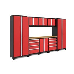 NewAge Products Inc. Bold 3.0 24-Gauge Welded Steel Bamboo Worktop Cabinet Set in Red (9-Piece)