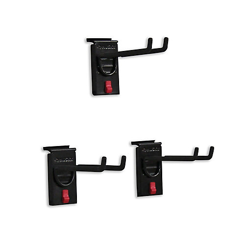 Track Wall 8 Inch Double Hook (3-Pack), Black