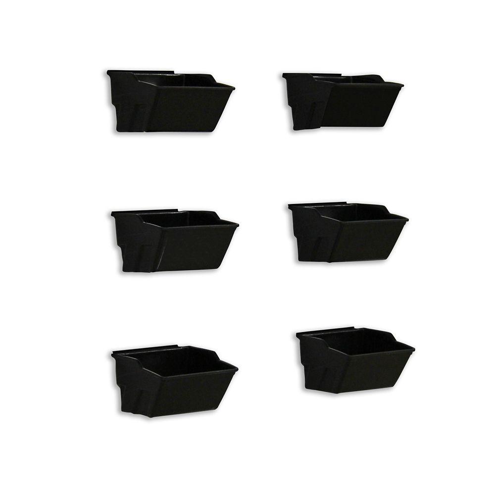 HUSKY Track Wall Small Bin, 6 pack, Black