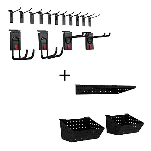 Track Wall Essential Accessory Kit, (18-Piece), Black