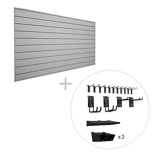 Track Wall 32 sq. Feet (8 Feet x 4 Feet) & 18-Piece Accessory Kit 'Store More' Bundle