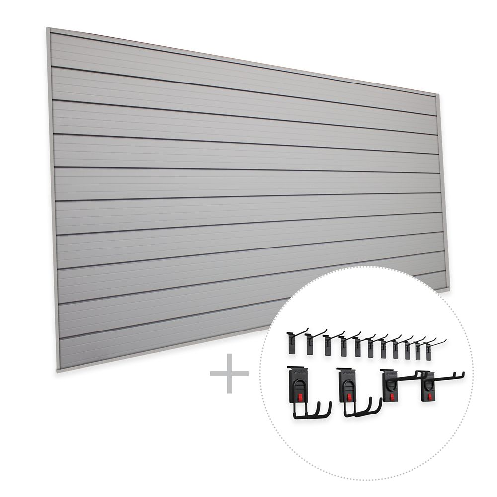 HUSKY Track Wall 32 sq. Feet (8 Feet x 4 Feet) & 15 pc. Hook Kit 'Space Saver' Bundle
