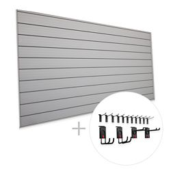 HUSKY Track Wall 32 sq. Feet (8 Feet x 4 Feet) & 15-Piece Hook Kit 'Space Saver' Bundle