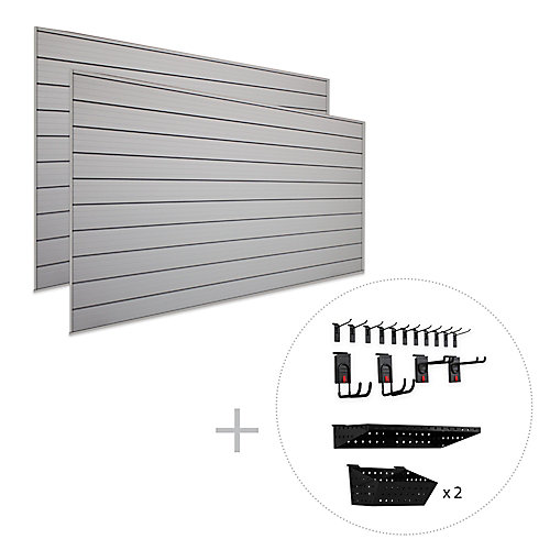 Track Wall Pro Bundle 8 ft. x 8 ft. Wall Organizer System with 18-Piece Accessory Kit