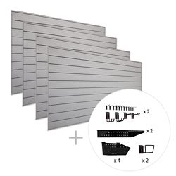 HUSKY Track Wall 128 sq. Feet (16 Feet x 8 Feet) & 38-Piece Accessory Kit 'Max' Bundle