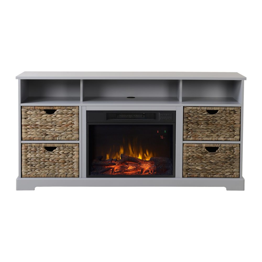 Flamelux Anniston Media Fireplace in Grey Painted Finish