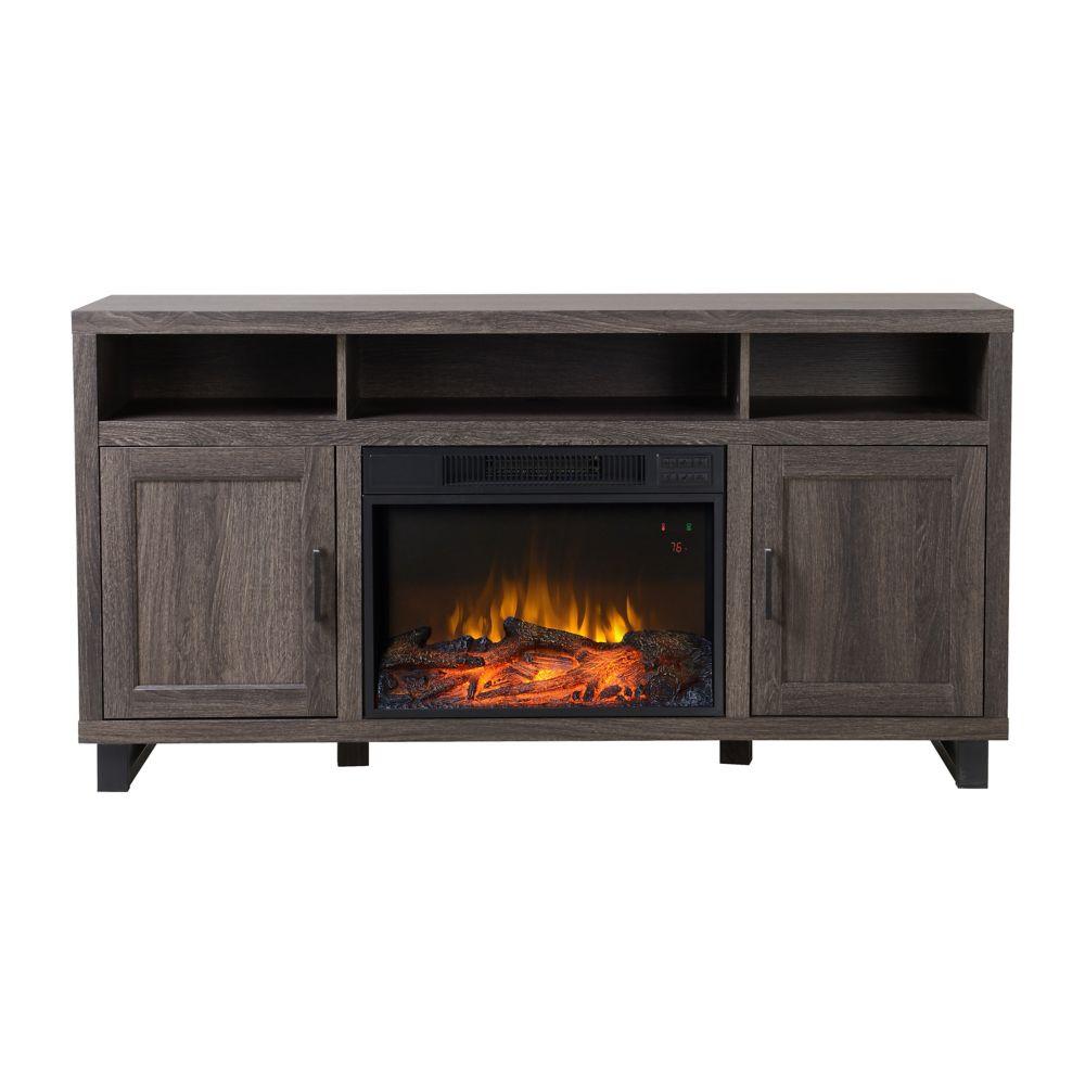 Flamelux Dijon Media Fireplace in Weathered Black Brown Oak