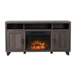Flamelux Dijon Media Fireplace in Weathered Black Brown Oak