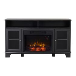 Flamelux Wilson Media Fireplace in Graphite Quartered Oak