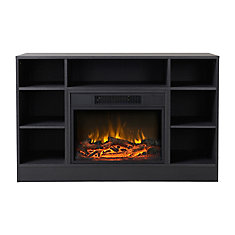 Oakley Media Fireplace in Graphite Quartered Oak