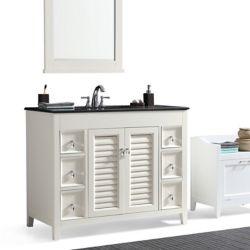 Simpli Home Adele 42-inch Bath Vanity with Black Granite Top