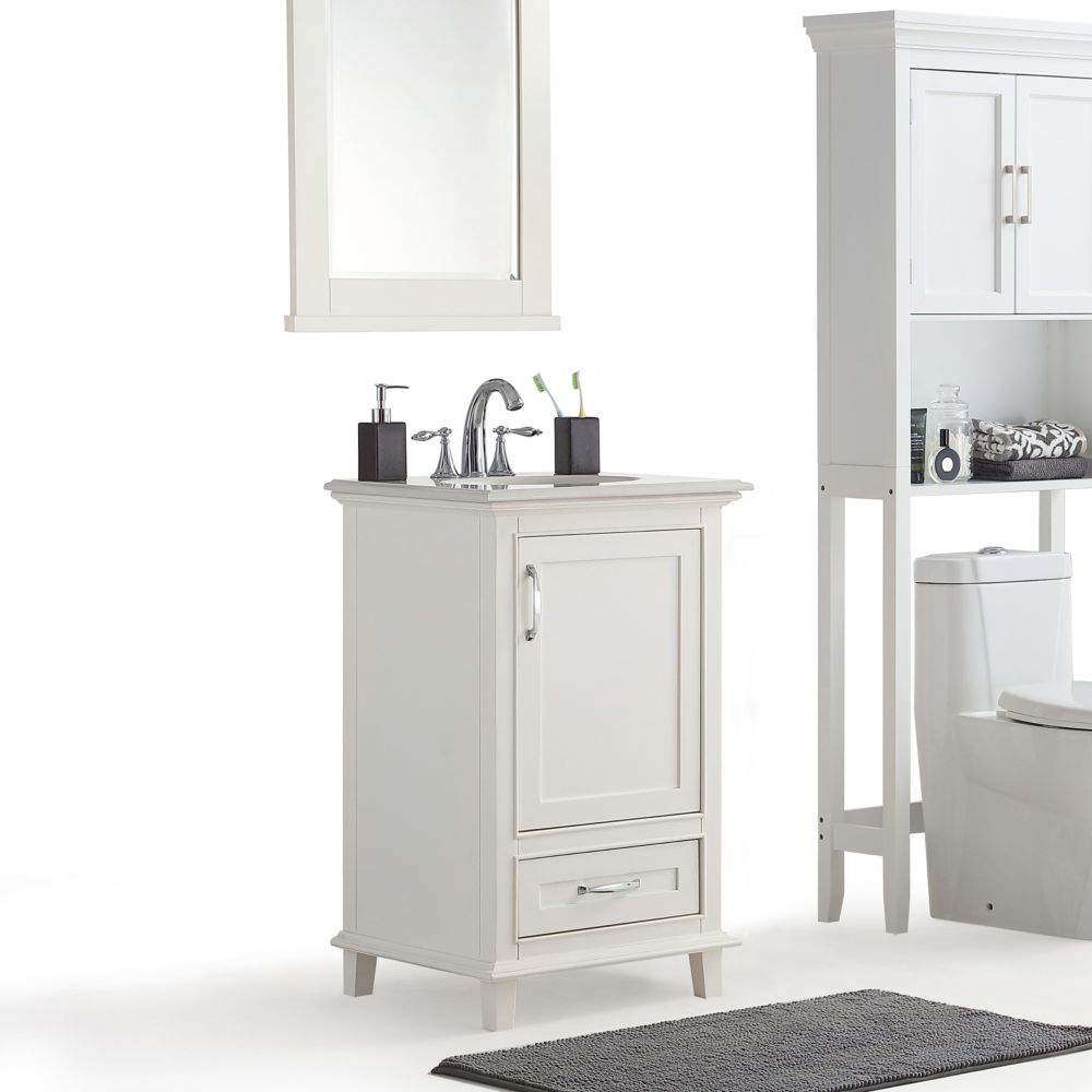 Simpli Home Ariana 20 Inch Bath Vanity With Bombay White Quartz