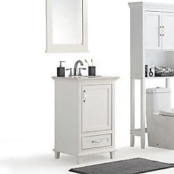 Simpli Home Ariana 20 Inch Bath Vanity with Bombay White Quartz Marble Top
