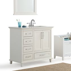 Simpli Home Ariana 36-inch 2-Door 5-Drawer Bath Vanity in White with Bombay White Quartz Marble Top