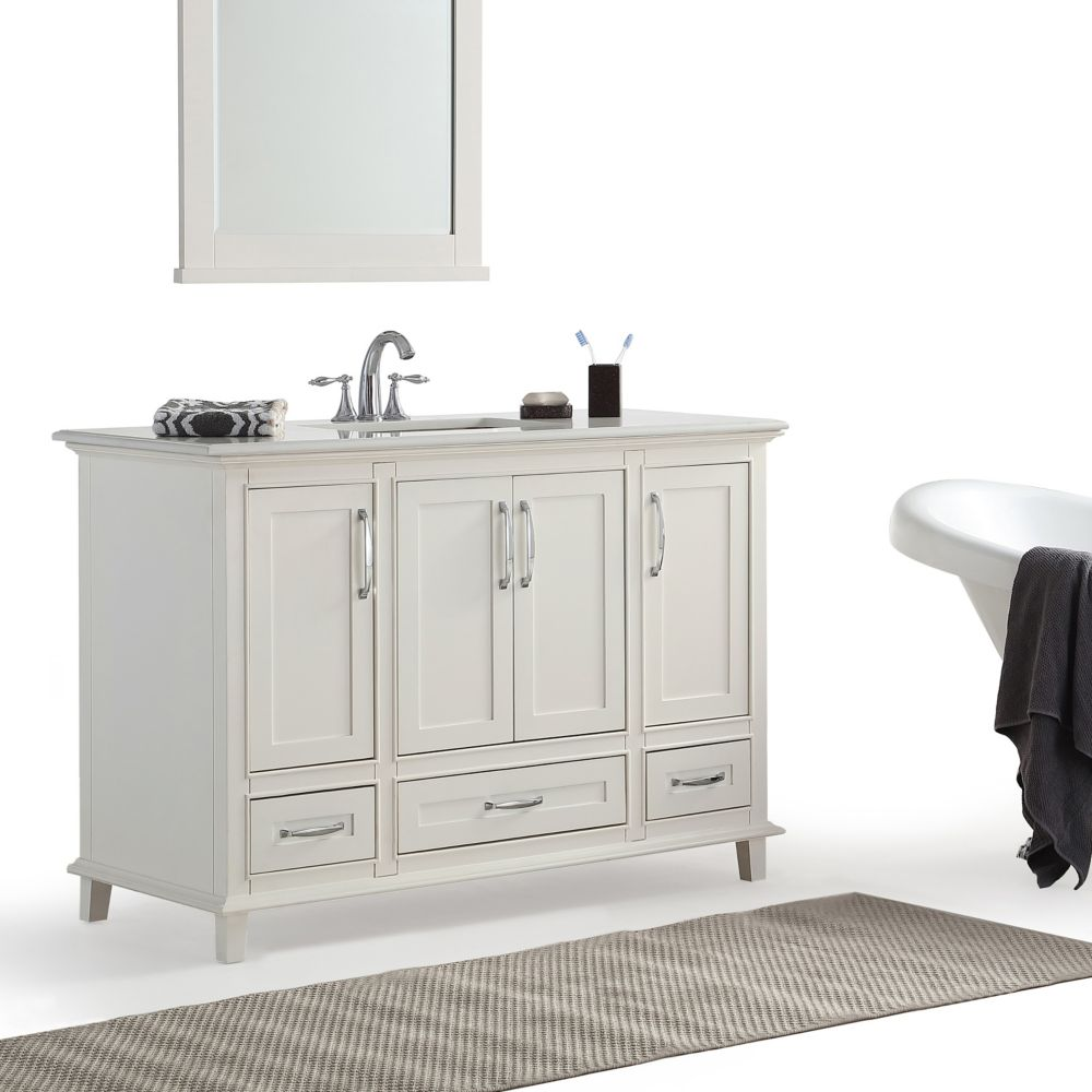 Simpli Home Ariana 48 Inch Bath Vanity with Bombay White Quartz Marble Top