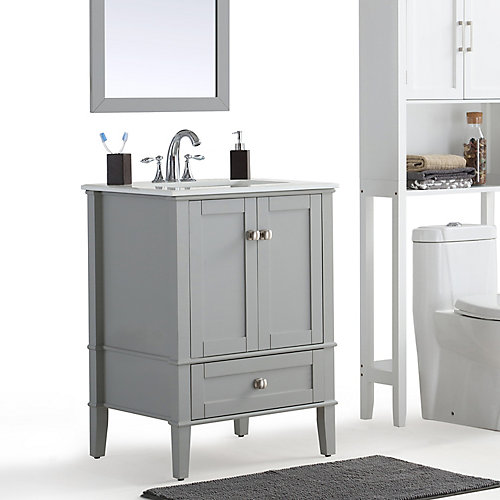 simpli home chelsea 24 inch bath vanity with white quartz marble top 24 Bathroom Vanity