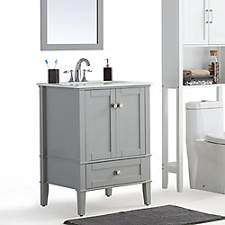 Chelsea 24-inch Bath Vanity with White Quartz Marble Top