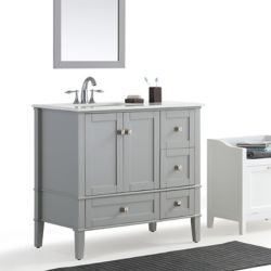 Simpli Home Chelsea 36-inch Left Offset Bath Vanity with White Quartz Marble Top