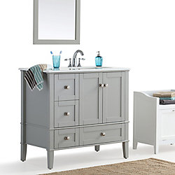 Chelsea 36-inch Right Offset Bath Vanity with White Quartz Marble Top
