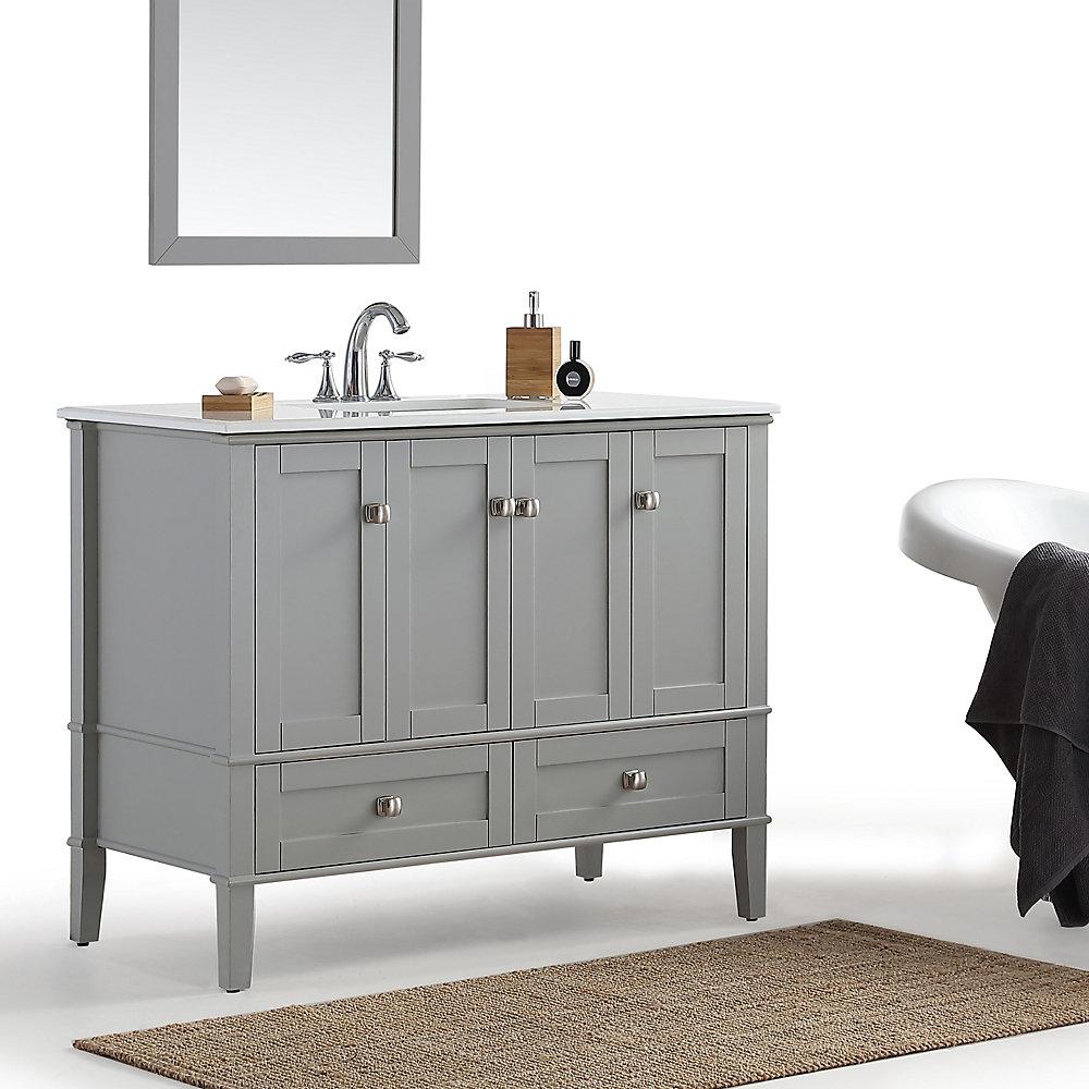 Simpli Home Chelsea 42 Inch Bath Vanity With White Quartz