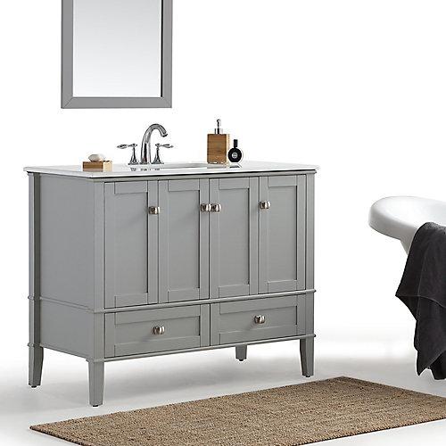 Chelsea 42-inch Bath Vanity with White Quartz Marble Top