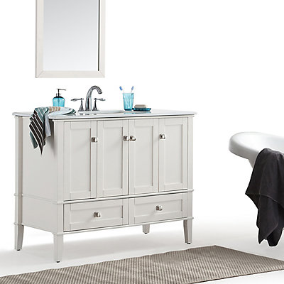 Simpli Home Chelsea 42 Inch Bath Vanity with White Quartz Marble Top | The Home Depot Canada