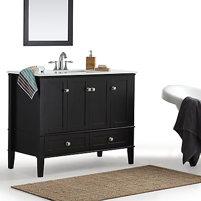 Simpli Home Chelsea 42 Inch Bath Vanity With White Quartz Marble Top The Depot Canada