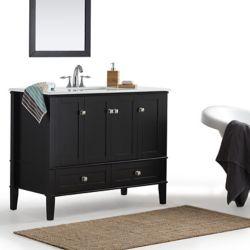 Simpli Home Chelsea 42-inch Bath Vanity with White Quartz Marble Top