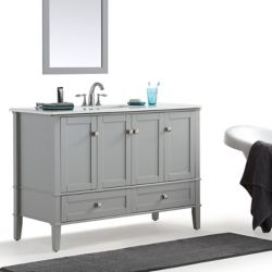 Simpli Home Chelsea 48-inch Bath Vanity with White Quartz Marble Top