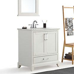 Simpli Home Elise 30 Inch Bath Vanity with Bombay White Quartz Marble Top