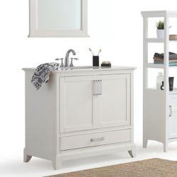 Simpli Home Elise -  Meuble-lavabo 36po avec dessus en marbre blanc de Bombay