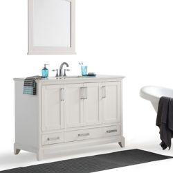 Simpli Home Elise 48 Inch Bath Vanity with Bombay White Quartz Marble Top