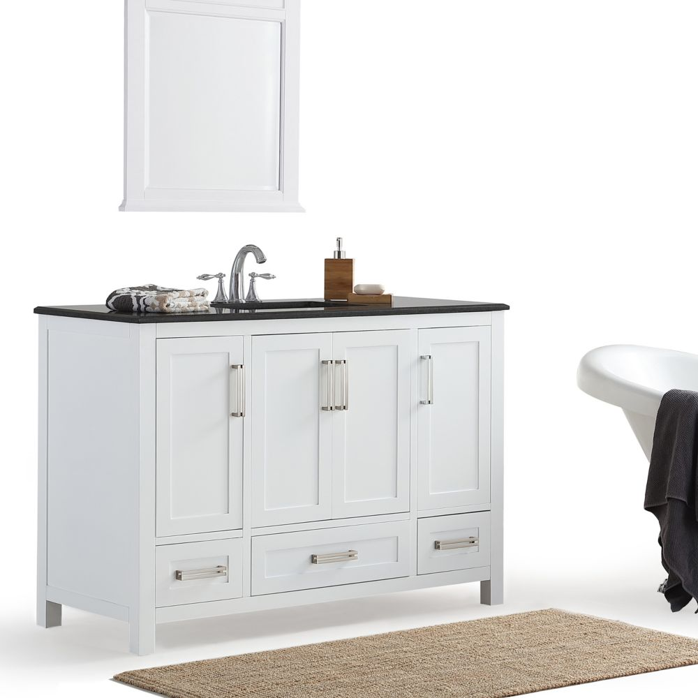 Simpli home paige 48 inch bath vanity with white quartz marble top the home depot canada for 48 inch bathroom vanity home depot
