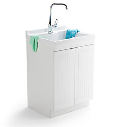 Simpli Home Murphy 24 Inch Laundry Cabinet with Faucet and ABS Sink
