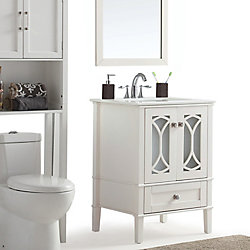 Paige 24-inch Bath Vanity with White Quartz Marble Top