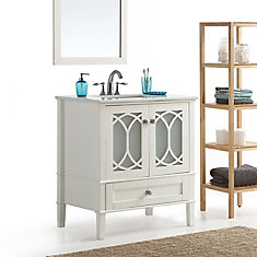 Paige 30 Inch Bath Vanity with White Quartz Marble Top