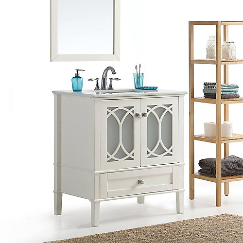 simpli home paige 36 inch bath vanity with white quartz marble top 36 Inch Bathroom Vanity