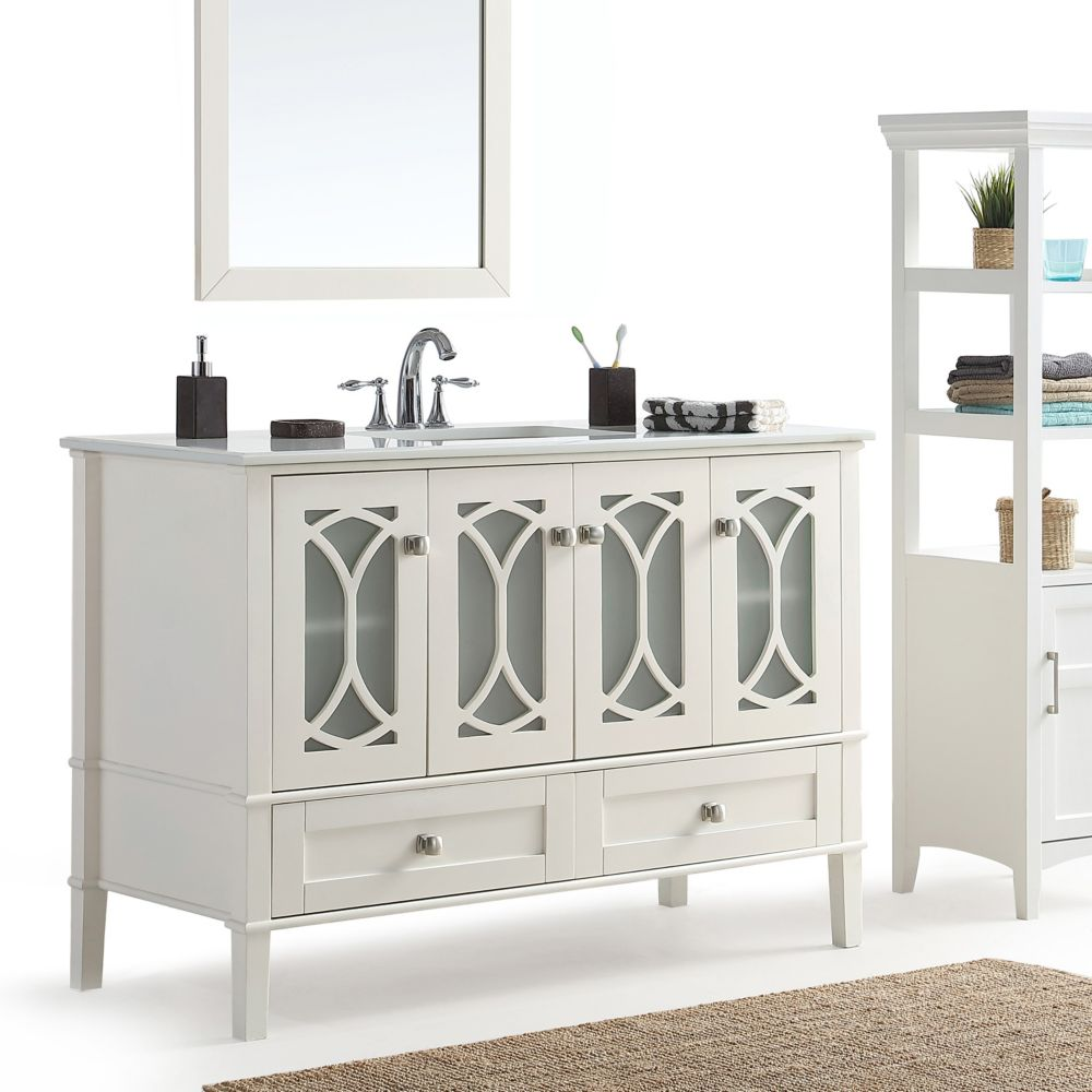 Simpli Home Paige 48-inch Bath Vanity with White Quartz ...