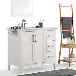 Simpli Home Winston 36 Inch Left Offset Bath Vanity with Quartz Marble Top