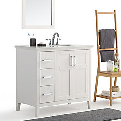 Winston 36-inch Right Offset Bath Vanity with Quartz Marble Top