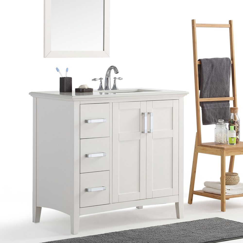 Simpli Home Winston 36 Inch Right Offset Bath Vanity with Quartz Marble Top