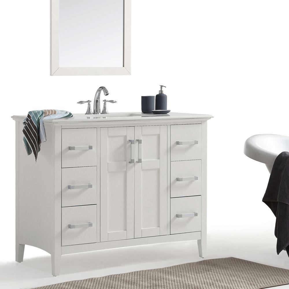 Simpli Home Winston 42-inch Bath Vanity With Quartz Marble