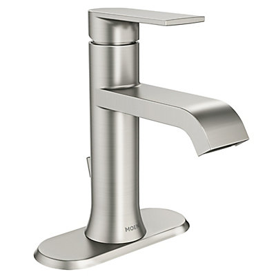 Moen Genta Single Handle Bathroom Faucet In Spot Resist Brushed - Nickel finish bathroom faucets