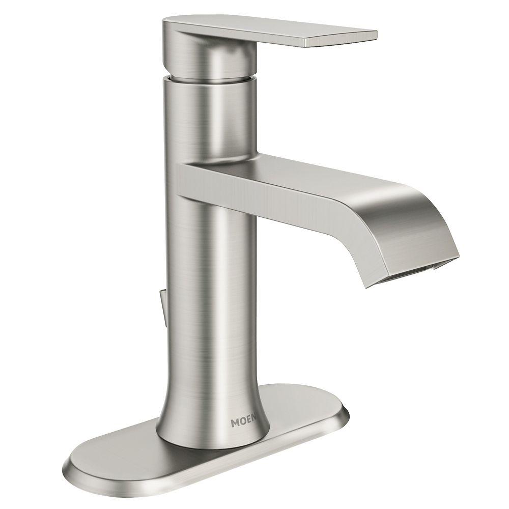 Moen Genta Single Handle Bathroom Faucet in Spot Resist Brushed ...