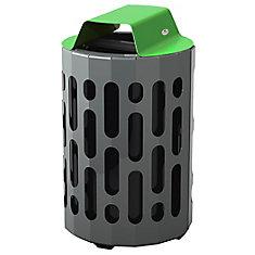 Steel Outdoor Waste Receptacle Green/Grey Finish